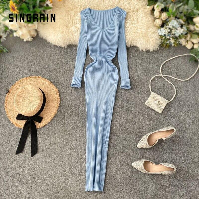 SINGRAIN женское осеннее вязаное платье с v образным вырезом, сексуальное обтягивающее эластичное платье оверсайз, базовое облегающее длинное платье, зимнее вязаное теплое платье свитер|Платья| | АлиЭкспресс