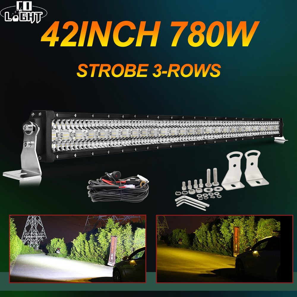 CO LIGHT 12D Strobe Offroad LED Light Bar 390W 585W 780W 3-Row Combo Beam Barra Led Bar 12V 24V LED Work Light For Lada 4x4 UAZ