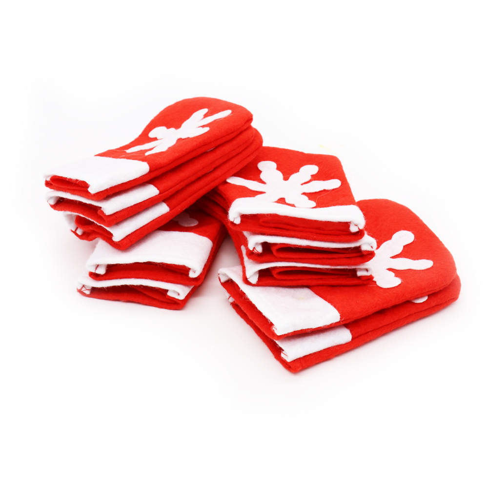 12pcs Mini Snowflake Christmas Stocking Cover Bag Tableware Silverware Knives Forks Holders Pockets Pouch Xmas Party Home Decor