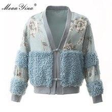 MoaaYina High Quality Fashion Designer Jacket jacket Autumn Women Beading Vintage Floral Woolen cloth Elegant