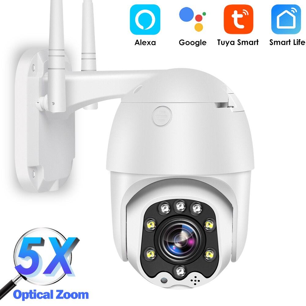 Tuya Wi-Fi IP Камера на открытом воздухе 1080P HD CCTV Камера купольная Камера домашнего видеонаблюдения 5X оптический зум Цвет Ночное видение