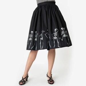 Image 3 - هالوين المرأة عالية الخصر 3D طباعة مطوي تنورة عارضة خمر السيدات سوينغ ميدي التنانير الجمجمة بارد فام تنورة زائد حجم