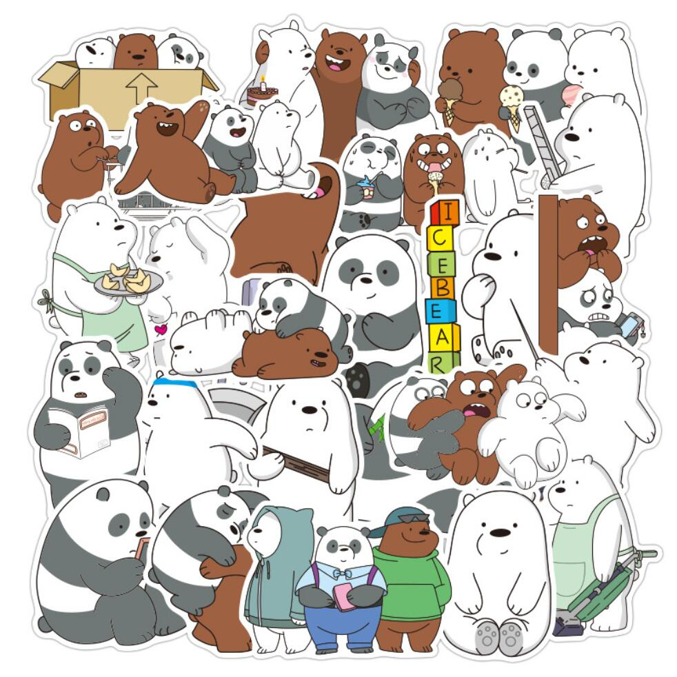 36 Pcs/pack Kawai Waterproof We Bare Bears Journal PVC Decorative Stationery Craft Stickers Scrapbooking DIY Diary Album