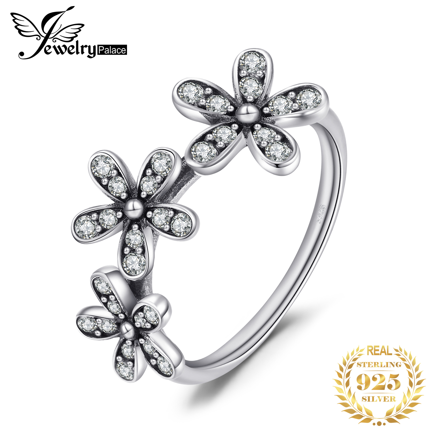 Jewelrypalace 925 Sterling Silver Shimmering Daisies Cubic Zirconia Ring Gifts For Women Anniversary Gifts Fashion Jewelry