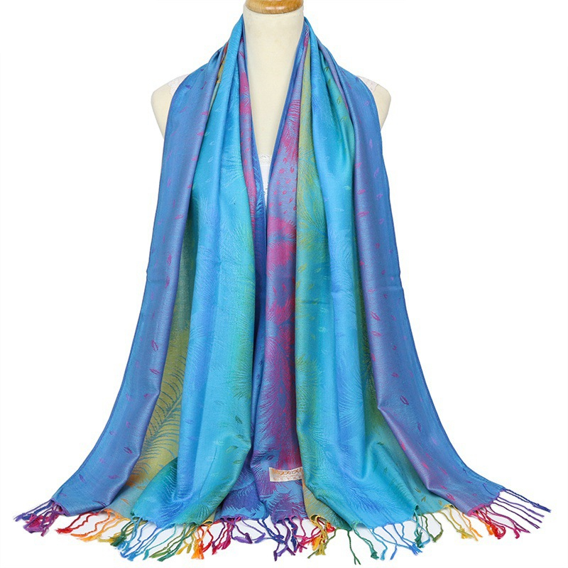 Women's New Retro Tassel Scarf Lady Cotton Twill Shawl Autumn Winter Gradient Color Warm Scarves Female jacquard Scarf And Wraps