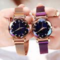 2019 neue Luxus Frauen Uhren Mode Elegante Magnet Schnalle Rose Gold Damen Armbanduhr Starry Sky Diamant Geschenk Quarz Uhr