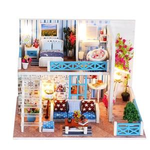 Image 5 - מודל DIY בית בובות מיניאטורי בית בובות עם רהיטים LED 3D בית עץ צעצועים לילדים מתנה בעבודת יד אמנות