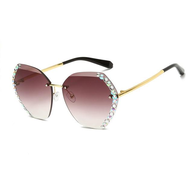 Vintage Fashion Oversized Rimless Sunglasses  3