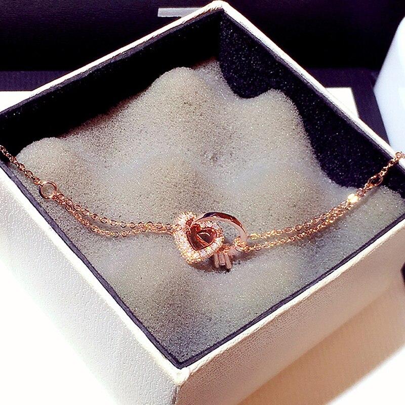 New Arrive Fashion Love Heart Buckle Chain Bracelet Top Quality AAA Shine Bling Zircon Bangles Best Gift Jewelry Pendant