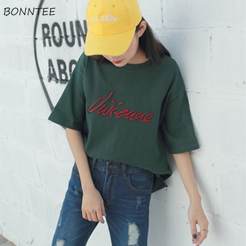 T-shirts Women Summer Loose Retro Loose Simple Letter Embroidery Students 5 Quarter Sleeve T-shirt All-match Leisure Womens Chic