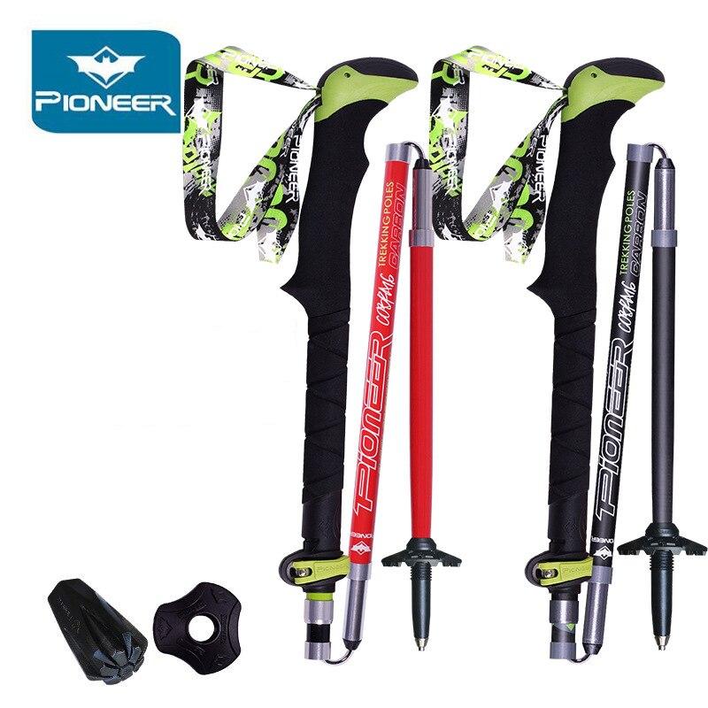 2Pcs lot Folding Sticks For Nordic Walking Poles Carbon Hiking Ultralight Walking Stick Camp Cane Crutch
