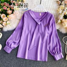 Женская атласная блузка с v образным вырезом длинным рукавом