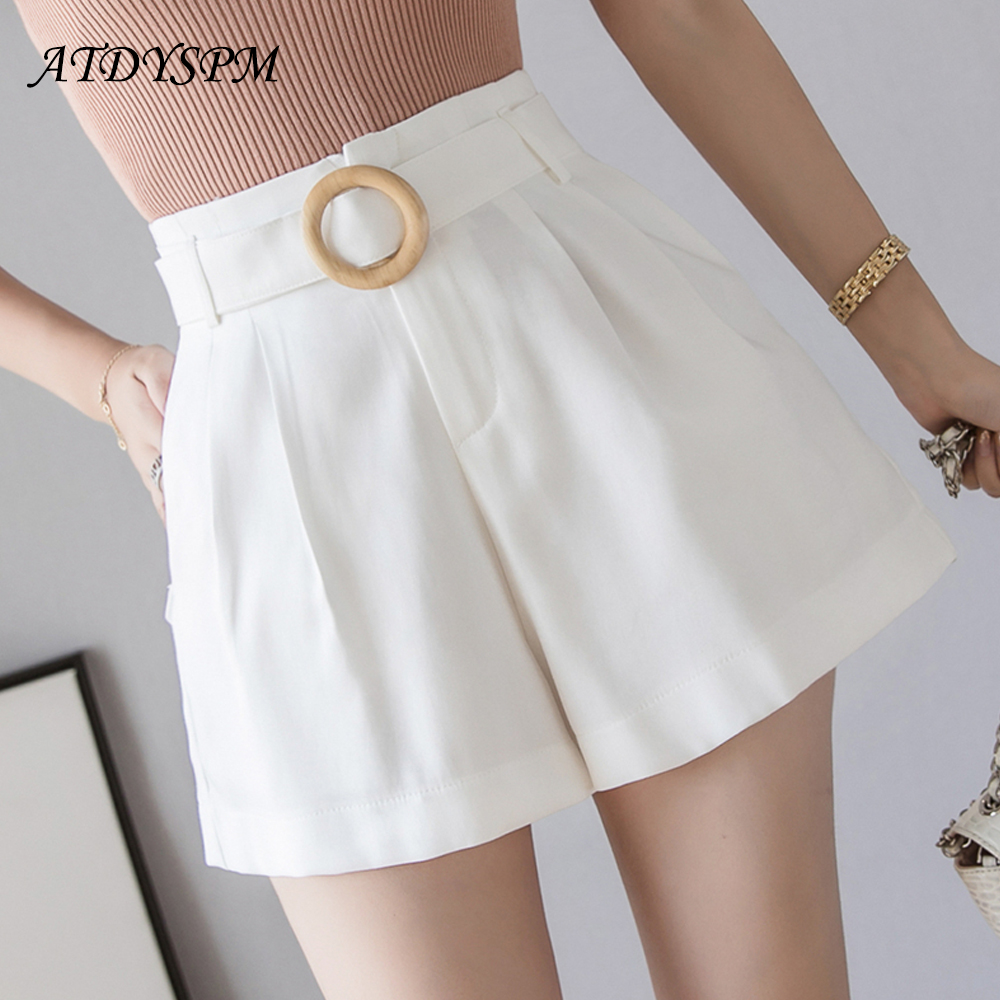 Sashes Pocket Loose Women Shorts High Waist Summer Shorts For Women Elegant Ladies Pleated A-Line Wide Leg Short Femme