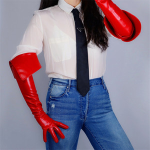 Image 2 - Long Leather Gloves 65cm Eversion Double Layer Big Cut Extra Long Red Simulation Leather Touchscreen Women Gloves WPU173