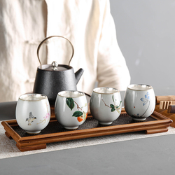 Jingdezhen Ceramic Silver Master Cup Tea Set 999 Sterling Silver Cup Gift