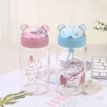 Creative cartoon glass cute bear water cup personality Glass material