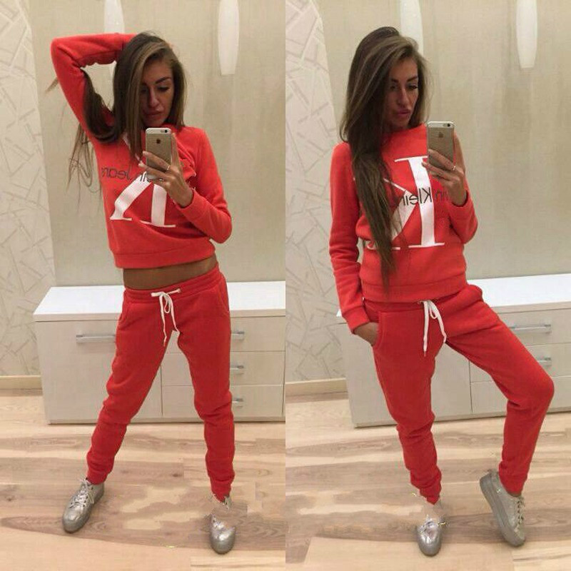 2 Piece Suit Women Autumn Winter Sweater Letter Print Stitching Sweater Casual Sport Suit Women Casual Suit Women Gym Sweat Suit