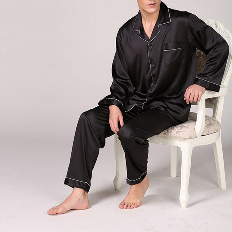 Jodimitty Sleepwear Men Pajama-Set Nightgown Satin Cozy Silk Modern-Style Sexy Soft Solid title=