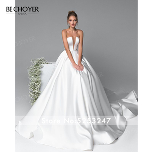 Image 2 - Elegant 2 In 1 Satin A Line Wedding Dress Illusion Court Train Princess BE CHOYER EL01 Bride Gown Customized Vestido de Noiva