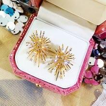 Женские блестящие серьги гвоздики в виде фейерверка