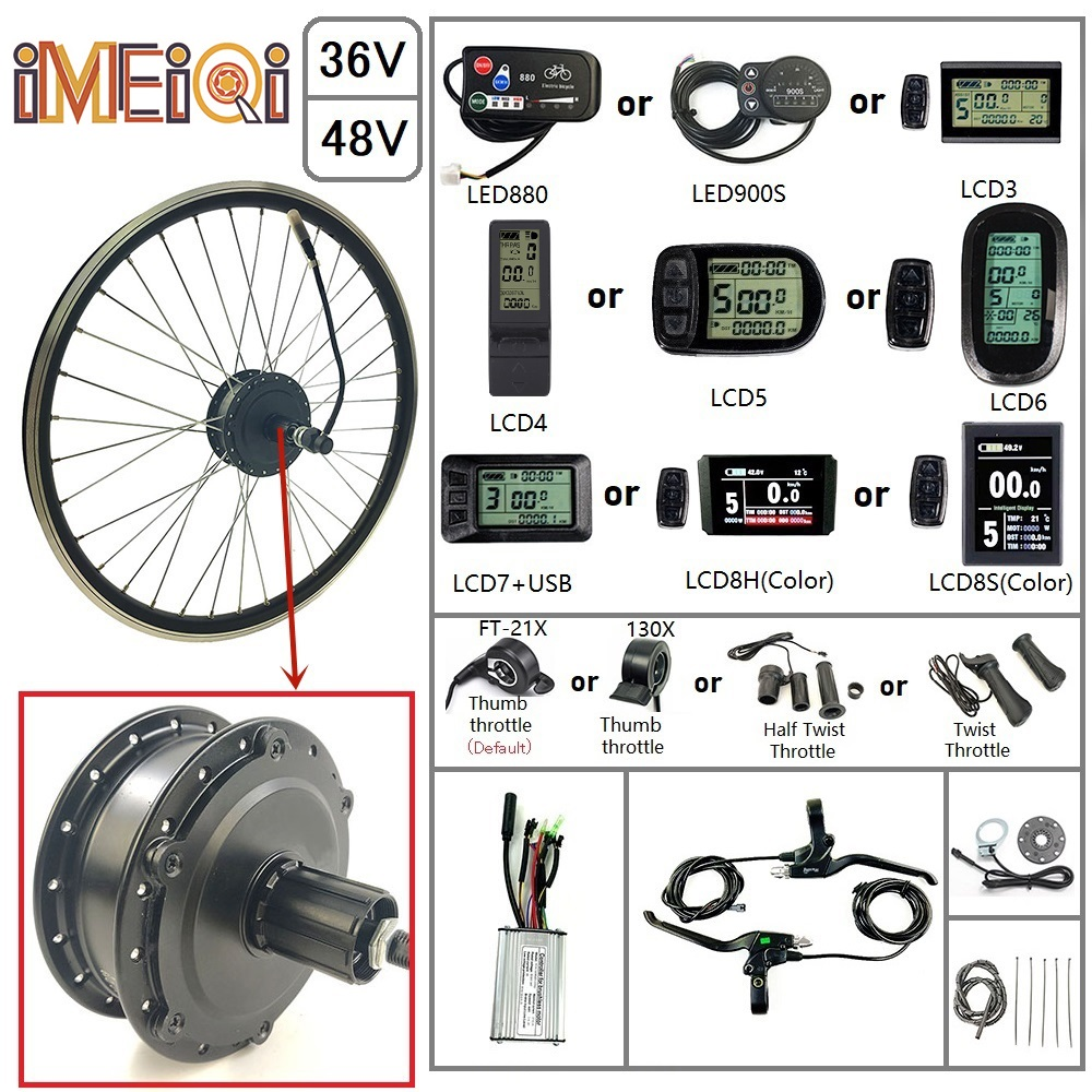 IMEIQI Electric Bicycle Conversion Kit 36/48V 250W Rear Cassette Wheel <font><b>Motor</b></font> with Optional 16