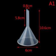 1pc 60mm Mini entonnoir en plastique petite bouche liquide huile entonnoirs fournitures de laboratoire outils école fournitures expérimentales