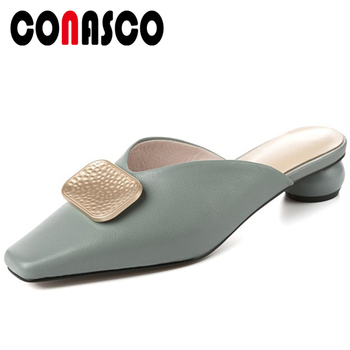 CONASCO Summer New Fashion Concise Women Genuine Leather Sandals Slippers Mules Metal Decoration Casual Thick Heels Shoes Woman