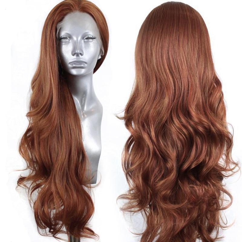El carisma de la onda larga del cuerpo pelo marrón fibra resistente al calor peluca sintética peluca con malla frontal gratuito para las mujeres malla con división pelucas