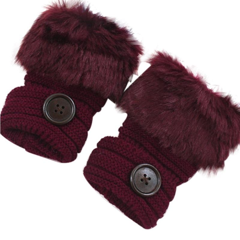 Women Gloves With Faux Rabbit Fur Winter Knitting Gloves Wrist Crochet Knitted Fingerless Gloves Mittens Autumn Warmer Gloves O7