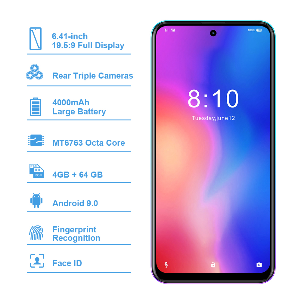 Image 2 - HOMTOM P30 pro Android 9.0 4G Mobile Phone MT6763 Octa Core 4GB 64GB 4000mAh 6.41 inch Face ID 13MP+ Triple Cameras Smartphone-in Cellphones from Cellphones & Telecommunications