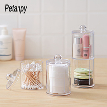 Acrylic Multifunctional Round Qtip Container Cosmetic Makeup Cotton Pad Organizer Jewelry Storage Box Holder and Candy Jars