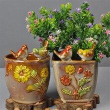 Европейская керамическая птица цветок ваза цветочный горшок Гостиная Офис Многофункциональный контейнер украшения для дома R3245