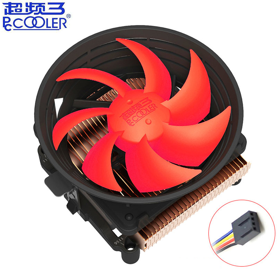 Pccooler Q100M Copper plating CPU cooler 10cm 4pin PWM quiet <font><b>Fan</b></font> For Intel 775 1150 1151 1155 1156 AMD Q100 <font><b>PC</b></font> Cooling <font><b>fan</b></font> image