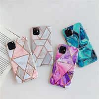 Luxury Geometric Marble Shiny IMD Phone Case For iPhone XS Max XR X 10 6 6S 7 8 Plus 7Plus 8Plus Back Cover For iPhone X Fundas