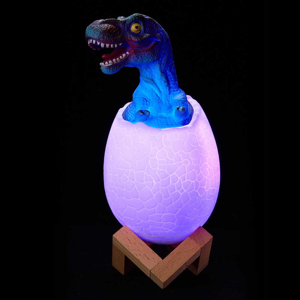 מגע חיישן לילה אור 16 LED צבעים דינוזאור ביצה ליד המיטה מנורת שלט רחוק 3 מצבי תאורת צעצוע LED נטענת שולחן מנורה