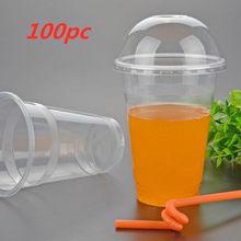 450ml 100PC tasses en plastique jetables avec trou dôme couvercle tasses à café clair thé jus emballage tasses froid boire boisson tasse B14