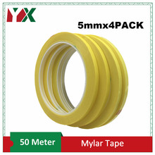 YX 4rolls 5mm*50M*0.06mm PET High Temp Withstanding Insulation Anti-Flame Adhesive Mylar Tape for Transformer Yellow