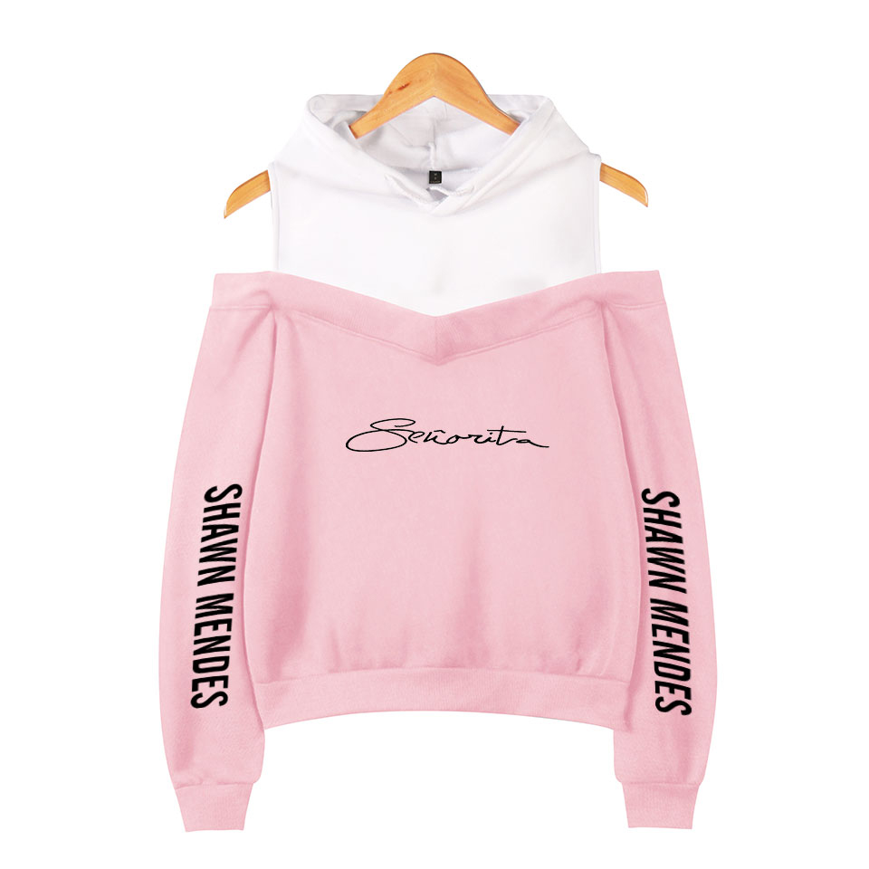 Shawn Mendes Off-Shoulder Hoody Women New Sale Popular Girls Hot Songs Senorita Shawn Mendes Hoodie Cute Ladies Pink Sweatshirts