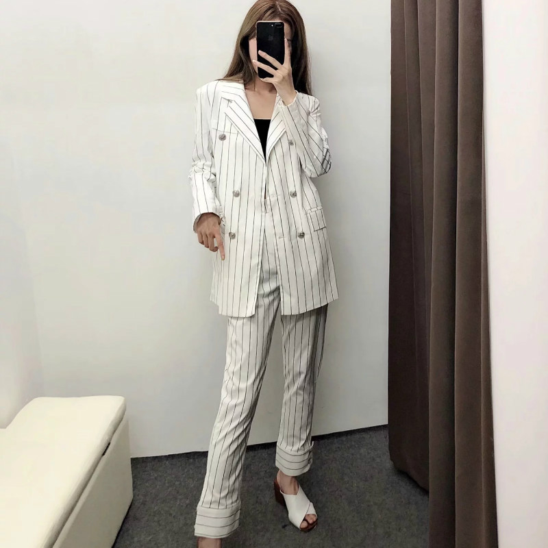 Women suits skirt suit Casual loose long double-breasted striped blazer Fashion lady suit jacket Pants suit two-piece 2019 new