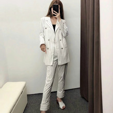 Women suits skirt suit Casual loose long double-breasted striped blazer Fashion lady jacket Pants two-piece 2019 new