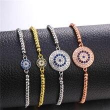 JUWANG-Pulseras con diseño de ojo de circonia cúbica para mujer, amuleto, cadena, ojo turco, azul turco, joyería, regalos de navidad