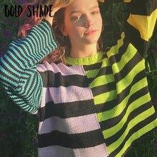 Bold оттенок 90s мода гранж свитера в полоску; e harajuku вязальный
