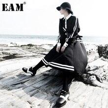 [EAM] 女性ブラックストライプスプリットジョイント気質ドレス新ラペルロングランタンスリーブルーズフィットファッション春秋 2019 1H071