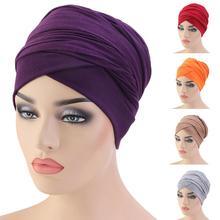 Le Donne Musulmane Lunga Coda Testa Sciarpa Wrap Cappello Turbante Hijab Perdita di Capelli Cancro Berretti Beanie Foulard Pianura Arabo Islam Bandane casual