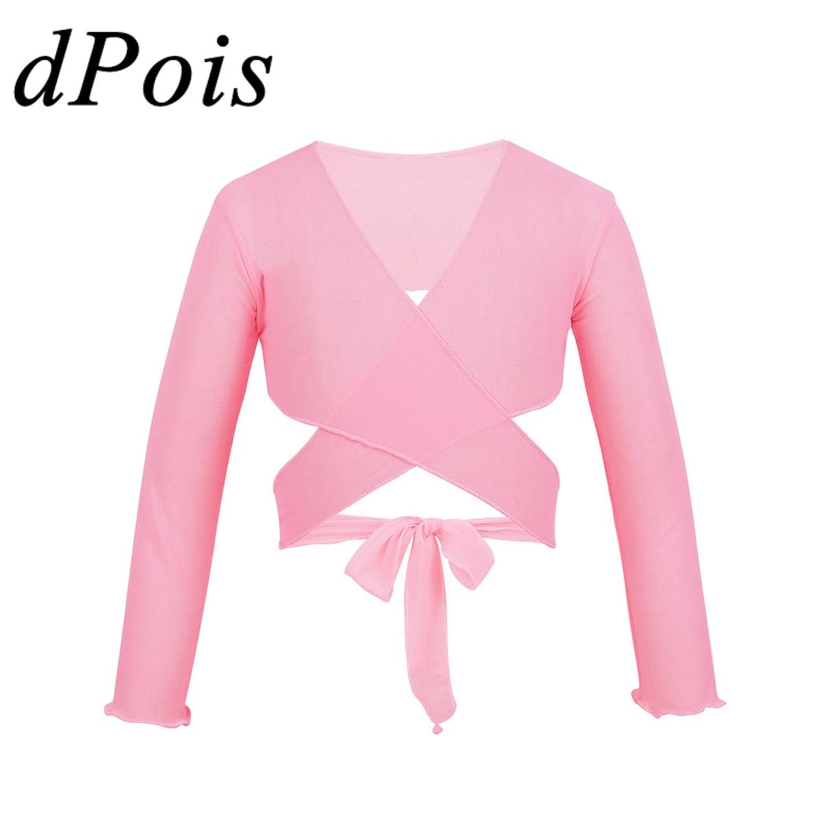 Gymnastic Leotards Jacket Cardigan Dance-Costume Ballet-Wrap Long-Sleeve Girls Kids Top