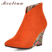 Meotina Autumn Ankle Boots Women Zipper Wedge Heels Short Boots Pointed Toe Super High Heel Shoes Ladies Winter Plus Size 34-43 meotina women ankle boots high heels pointed toe autumn shoes 2018 rhinestone thick heels winter boots yellow big size 34 43 new page 8