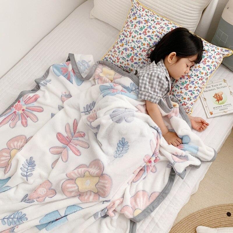 120X200cm Big Size Fluffy Super Soft Kids Bed Spread Cozy Baby Blanket Dinosaur Toddler Quilt Coral Fleece Furry Child Blanket
