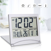 Folding LCD Digital Alarm Clock Desk Table Weather Station Temperature Travel Ectronic Mini