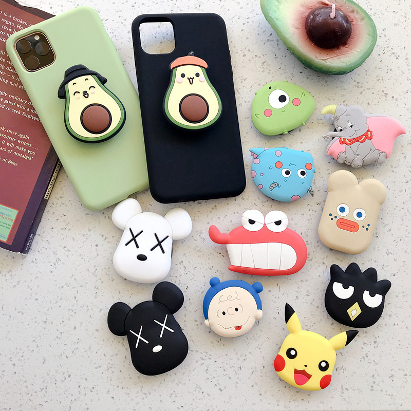 Mobile Phone Airbag Holder Silicone Cartoon Stretch Folding Lazy Mobile Phone Holder Creative Gift Ring Buckle Cut Gadget