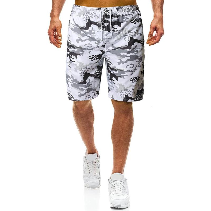 Men Straight Beach Pants Comfort Soft Elastic Waist Personality Printing Drawstring Camouflage Chic Summer Casual Shorts